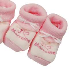 Baby-Booties - J'aime Marraine - Pink