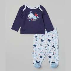 Shirt & Pants - Whale Navy